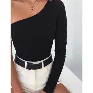 Tops - Black One shoulder bodysuit